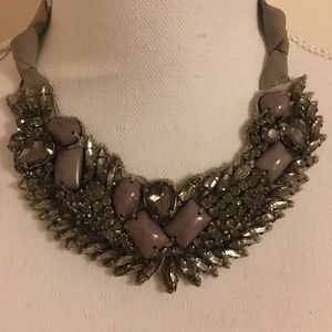 Loft Lilac and Silver Crystal Statement Necklace